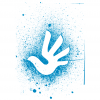 White Logo on Splattered Paint